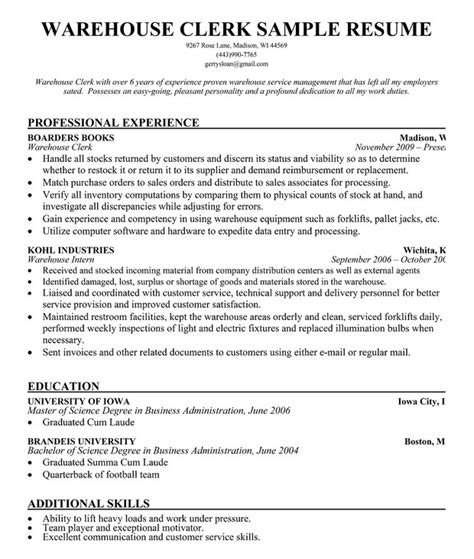 warehouse worker resume exles shipping and receiving clerk resume best resume gallery