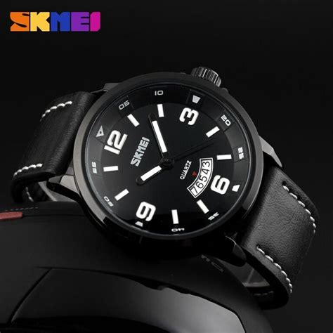 Skmei Casual Leather Water Resistant 30m White skmei jam tangan analog pria 9115cl black jakartanotebook