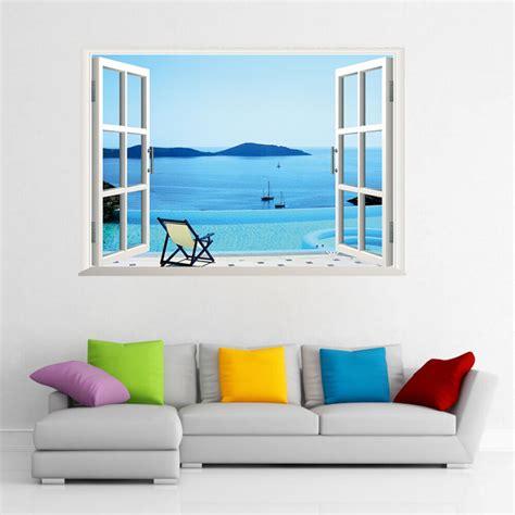 window ocean view blue sea home decor wall sticker