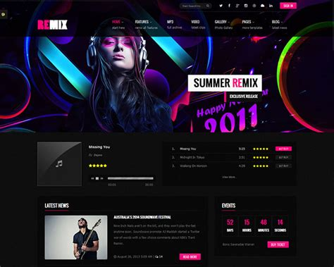 29 best html website templates for bands musicians web