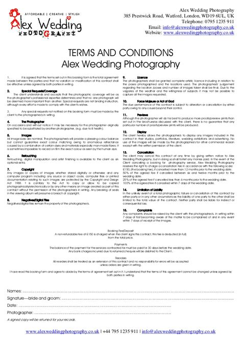 simple wedding photography contract template