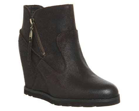 womans wedge boots ugg myrna wedge boots in black lyst