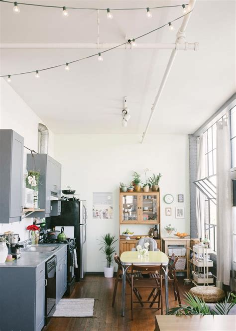 Bohemian Loft California Apartment Of Jessica Levitz Kitchen String Lights