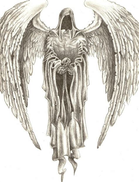 drawn scythe angel pencil and in color drawn scythe angel
