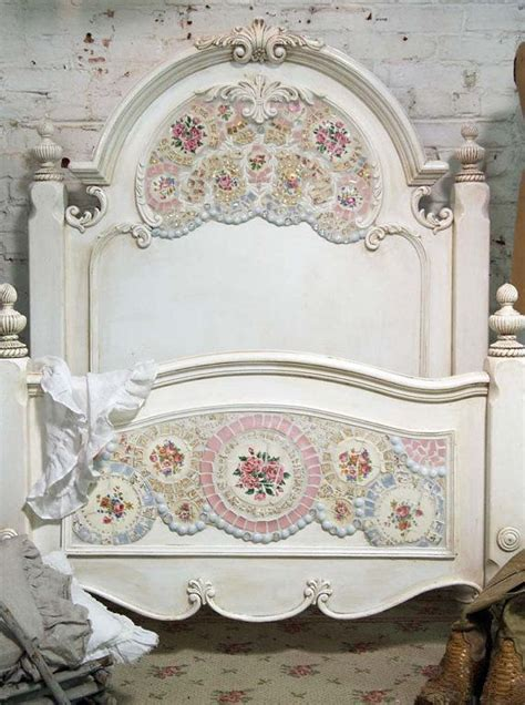 painted cottage chic shabby mosaic romanitc bed painted
