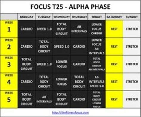 Calendrier T 25 Get The Focus T25 Workout Calendar Schedules T25 Workout