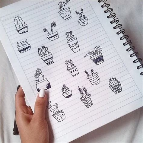 how to doodle in a notebook black cacti cactus doodle nails notebook pen