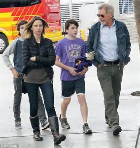 Rugged Winter Boots Calista Flockhart And Husband Harrison Ford Attend Lakers