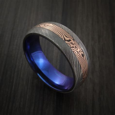 Wedding Ring Sle Designs by Damascus And 14k Gold Mokume Gane Ring With Anodized