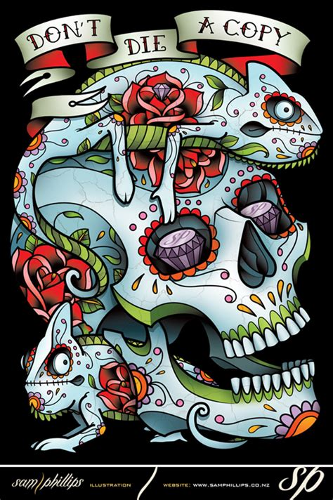 tattoo inspired clothing chameleon sugar skull style clothing by sam