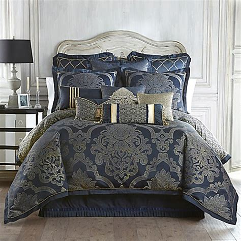 Set Navy waterford 174 linens vaughn reversible comforter set in navy