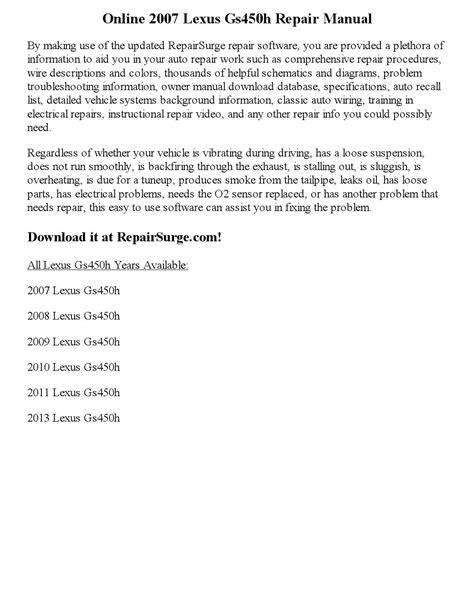 service manual 2007 lexus es workshop manuals free pdf download lexus es200 es250 es350 2007 lexus gs450h repair manual online by newyork444 issuu