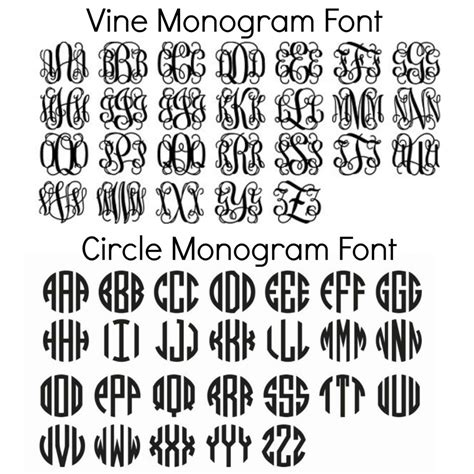 printable font sles free monogram fonts for personalizing school supplies