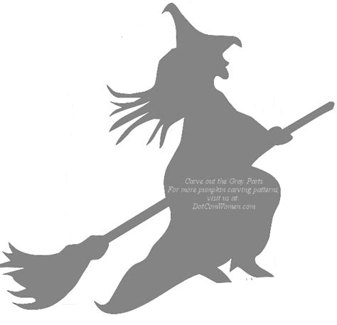 flying witch on broom halloween pumpkin carving stencil