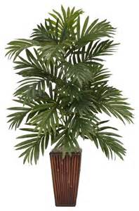 home decorative plants areca palm with bamboo vase silk plant tropical