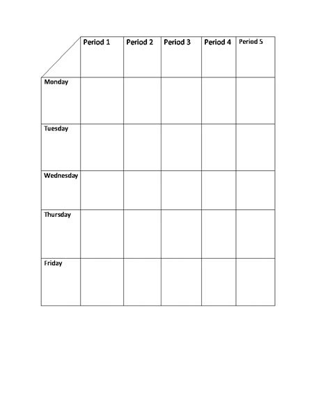 timetable school template school class timetable template format exle