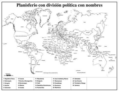 mapa america con division politica mapa mundi con division politica con nombres para imprimir
