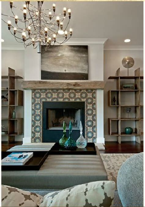 tile around the fireplace for the home