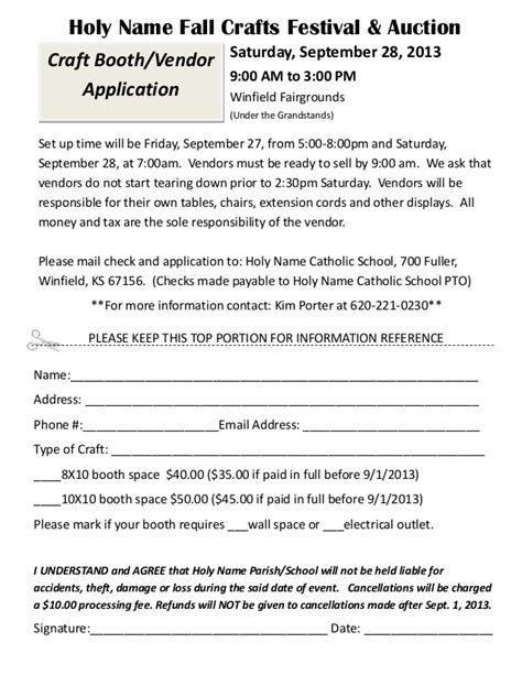 Craft Fair Vendor Registration 2013 Craft Vendor Application Template