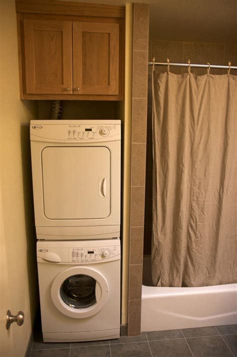 bathroom remodel  stackable washer dryer cozy home