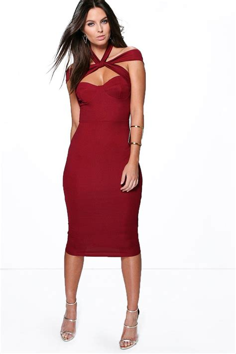 boohoo womens strappy top detail midi bodycon dress
