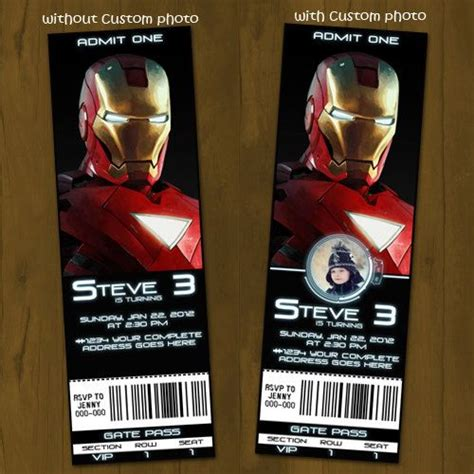printable iron man invitations iron man 2 ticket invitation printable ticket style