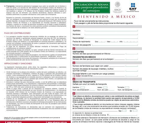 declaracion jurada para regimen aduanero formato de declaraci 243 n de aduana para pasajeros los