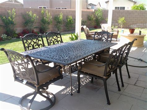Patio Furniture Dining Sets Mandalay Cast Aluminum Powder Coated 7pc Outdoor Patio Dining Set With 44 Quot X84 Quot Rectangle Table