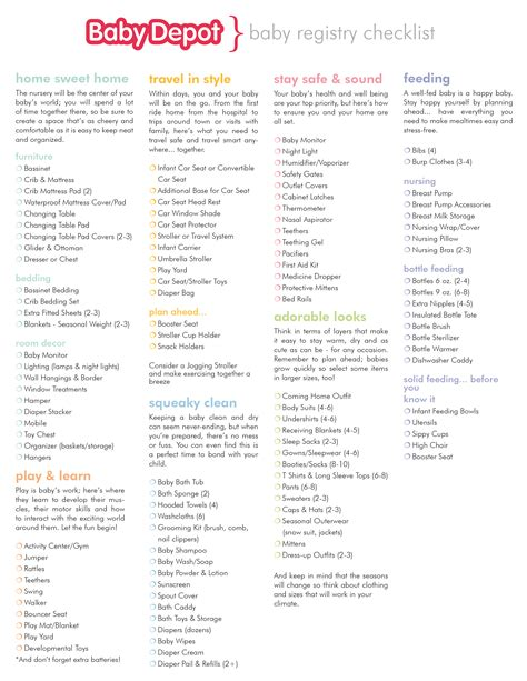Printable Baby Shower Registry Checklist by Baby Shower Registry List Search Engine At Search