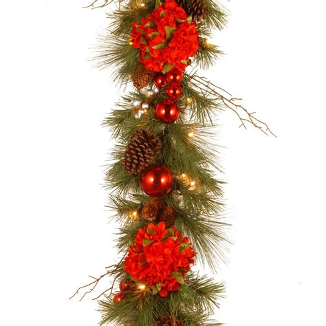 elegant lighted garland 12 ft battery operated plaid artificial garland with 50 clear multi function led lights