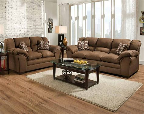 living room sofa and loveseat brown plush couch set venture chocolate sofa and