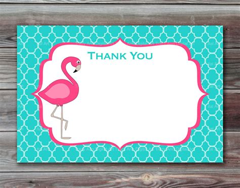 flamingo thank you cards printable thank you by tracyannprintables