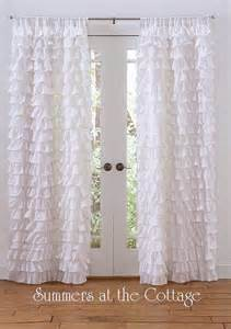 white ruffled drapes curtains shabby chic beach cottage