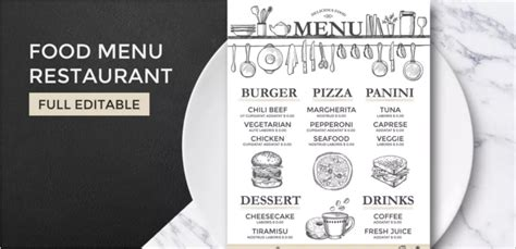 free printable menu templates for printable restaurant menu template