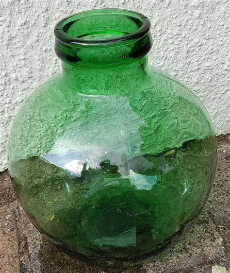 vintage viresa green glass carboy bottle garden terrarium