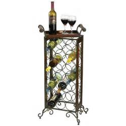 wrought iron wine rack with removable wooden serving tray