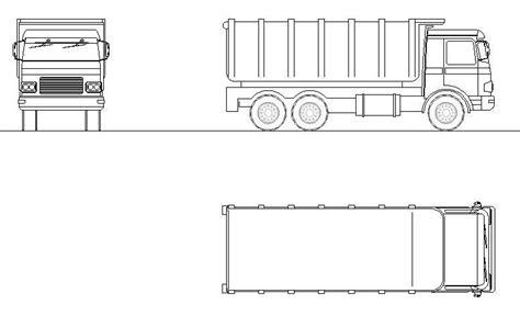 autocad layout view black and white garbage truck revit family cadblocksfree cad blocks free