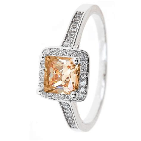 skusky 18k white gold plated 2 00 cttw princess cut halo r