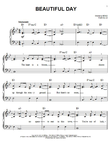 day song free beautiful day sheet by u2 easy piano 150027