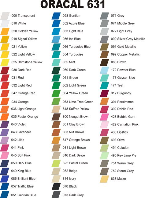 oracal 651 color chart home page www vinyl it all