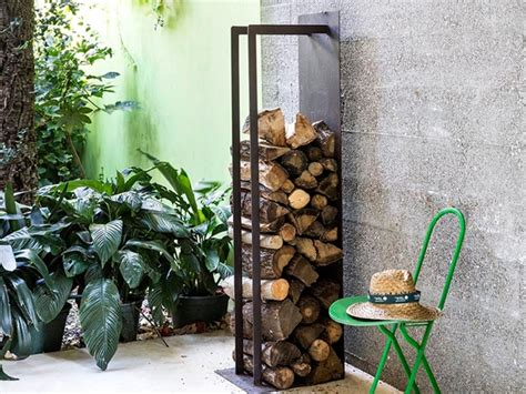 cassa porta legna porta legna di design in corten per interno ed esterno