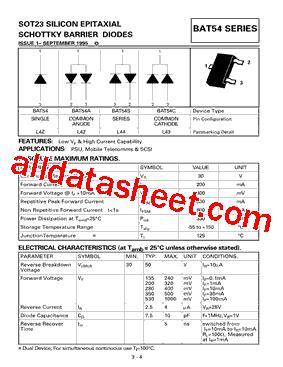 diodes inc bat54 bat54 datasheet pdf diodes incorporated