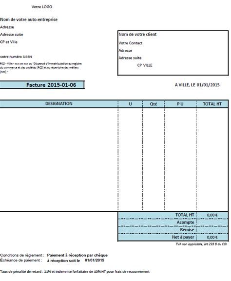 modele facture tva excel gratuit document
