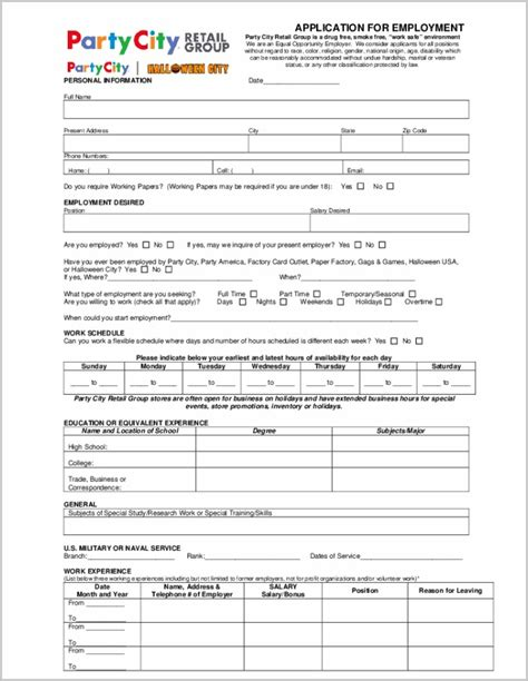 free printable job application form template uk job