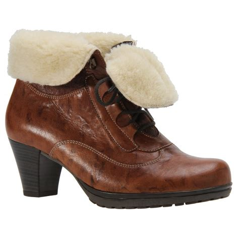 gabor brown ghillie tie ankle boot with wool lining