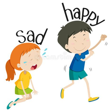 imagenes de happy and sad opposite adjective sad and happy stock vector