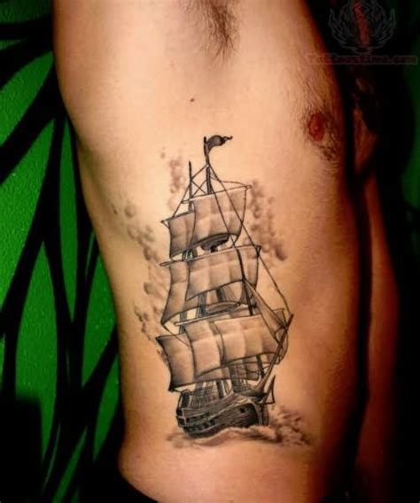 tattoos on side for men grey ink side rib for