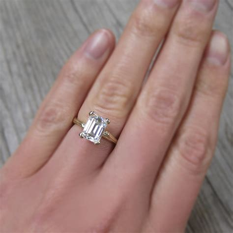 Emerald Cut Forever One or Supernova Moissanite Twig