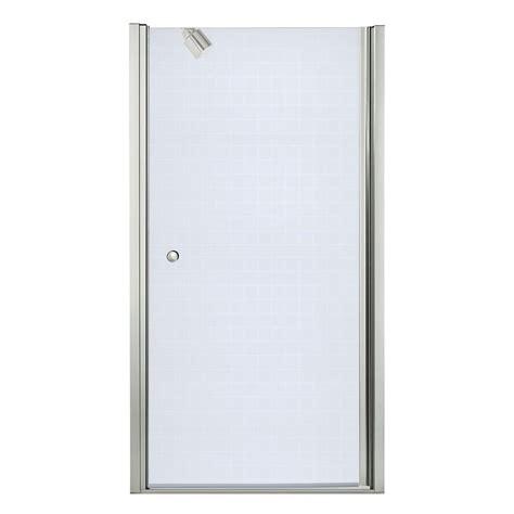 Sterling Frameless Shower Doors Sterling Finesse 36 1 2 In X 65 1 2 In Semi Frameless Pivot Shower Door In Nickel 6305 36n