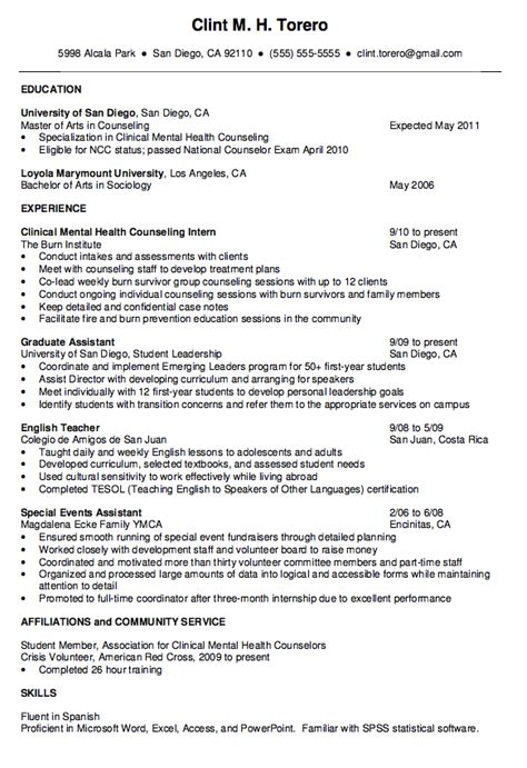 Mental Health Resume by Mental Health Counselor Resume Http Exleresumecv